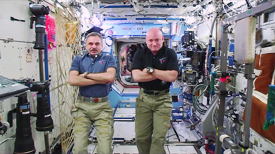 One-Year Crew members Mikhail Kornienko and Scott Kelly