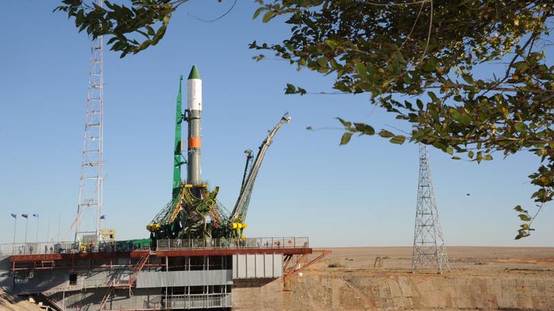 Progress 61 Rocket at Launch Pad
