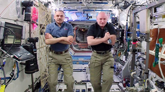 Crew Checks Eyes and Works on International Spacewalk Gear