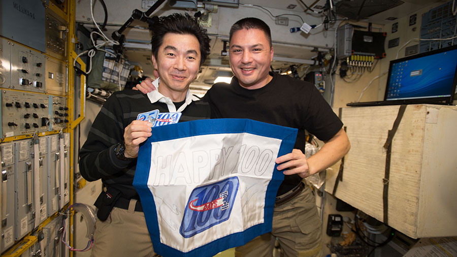 'Astronauts Kimiya Yui and Kjell Lindgren' from the web at 'http://blogs.nasa.gov/spacestation/wp-content/uploads/sites/240/2015/11/iss045e084875_blog.jpg'
