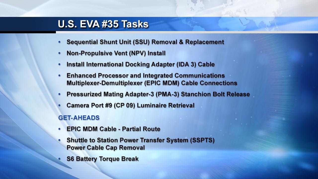 U.S. EVA #35 Tasks