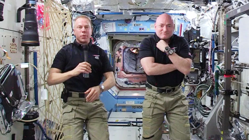 Astronauts Tim Peake and Tim Kopra