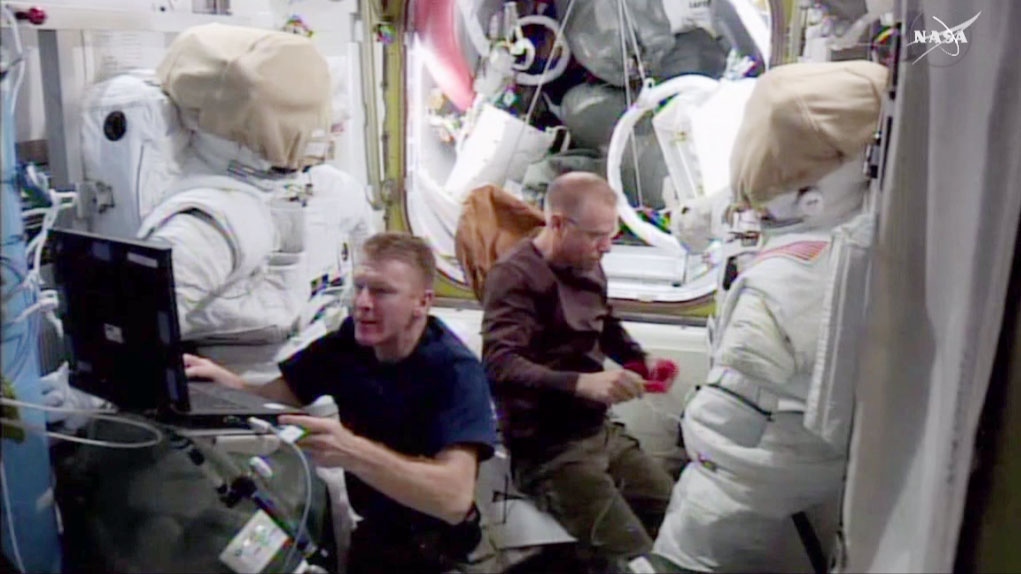 Astronauts Tim Kopra and Tim Peake