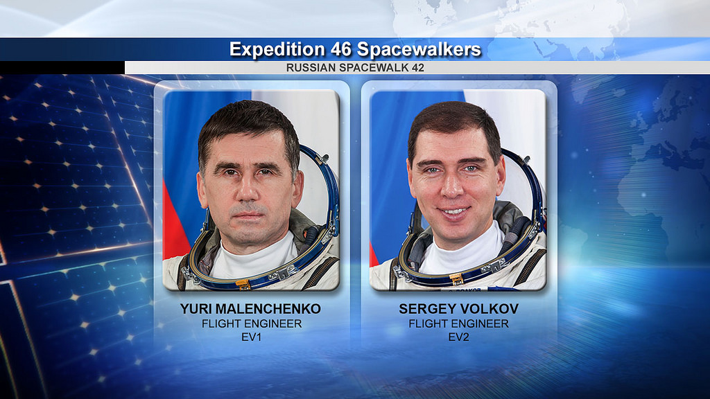 Spacewalkers Yuri Malenchenko and Sergey Volkov