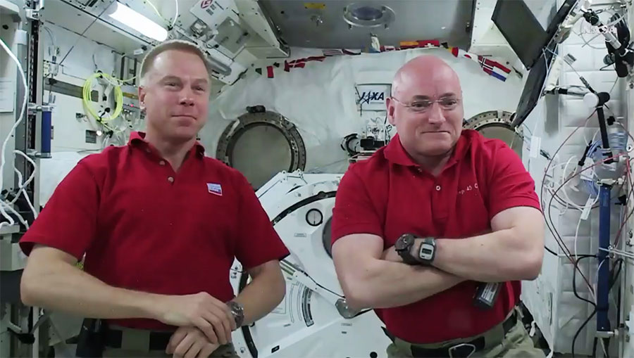 Astronauts Tim Kopra and Scott Kelly