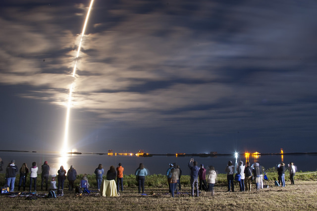 In a time-lapse exposure, a United Launch Alliance Atlas V rocket lifts off from Space Launch Complex 41 at Cape Canaveral Air Force Station carrying an Orbital ATK Cygnus resupply spacecraft on a commercial resupply services mission to the International Space Station.