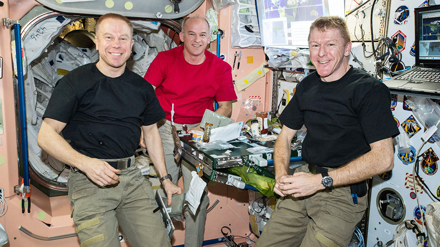 Astronauts Tim Kopra, Jeff Williams and Tim Peake