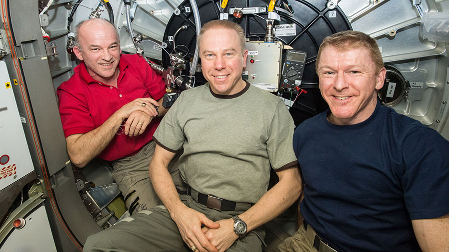 Astronauts Jeff Williams, Timothy Kopra and Timothy Peake