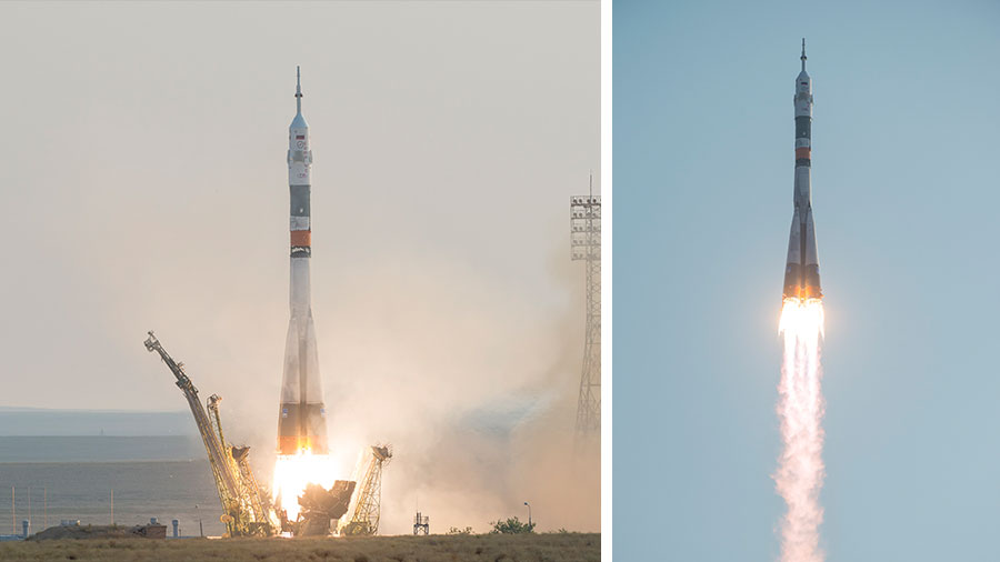 The Soyuz MS-01 spacecraft launches