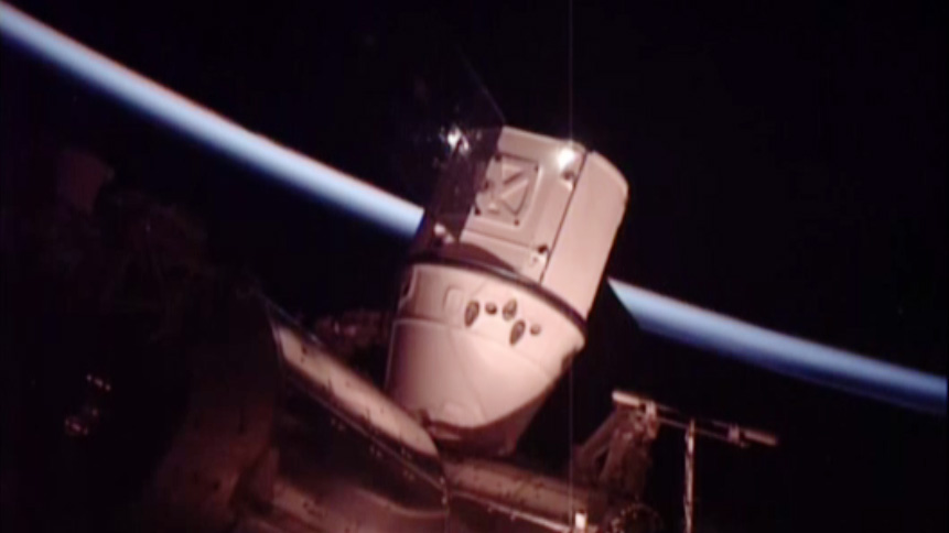 SpaceX Dragon Attached to Station