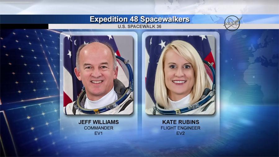Spacewalkers Jeff Williams and Kate Rubins