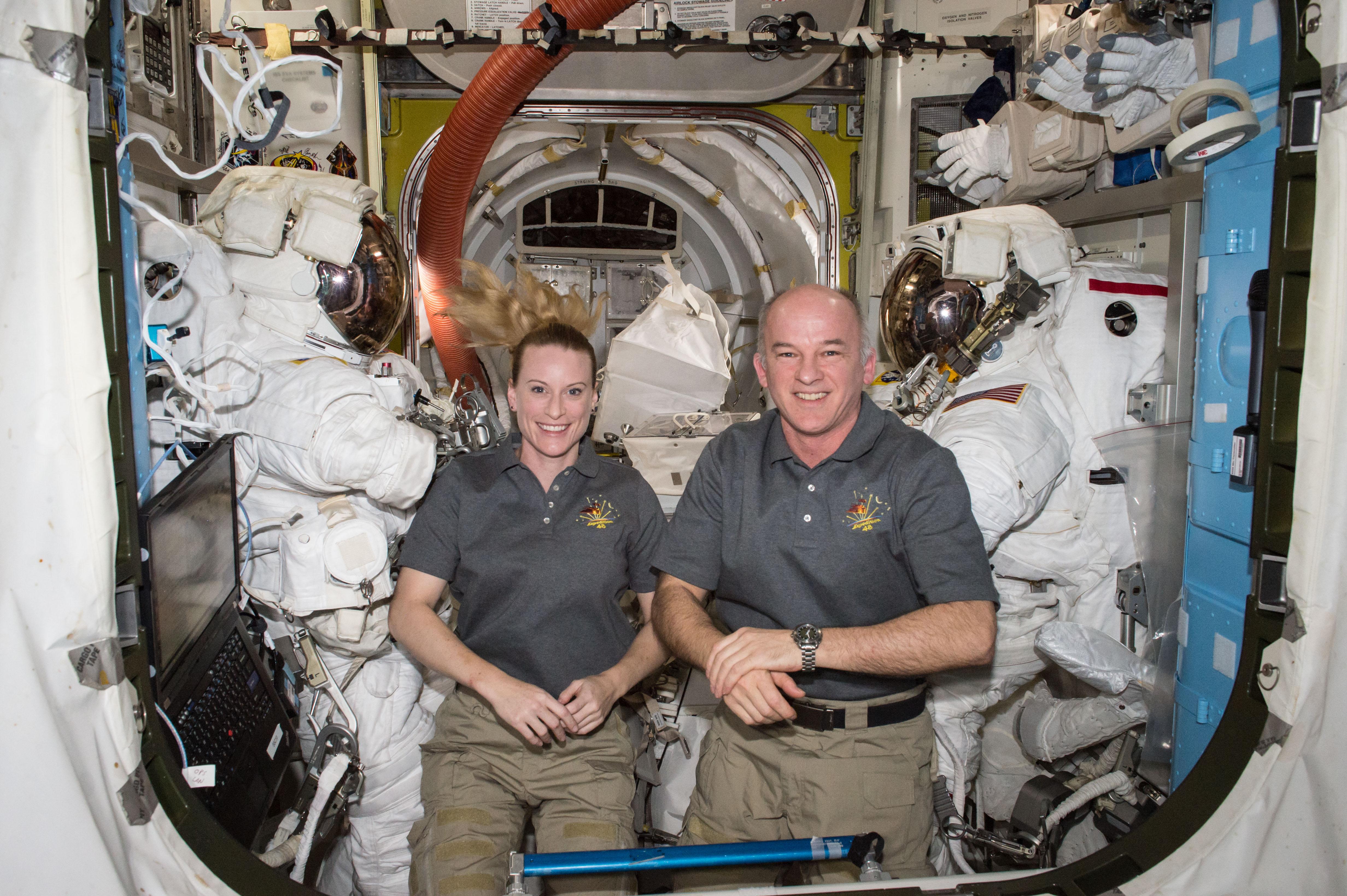Astronauts Kate Rubins and Jeff Williams