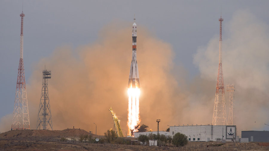 Three Crew Members Launch Aboard a Soyuz Rocket