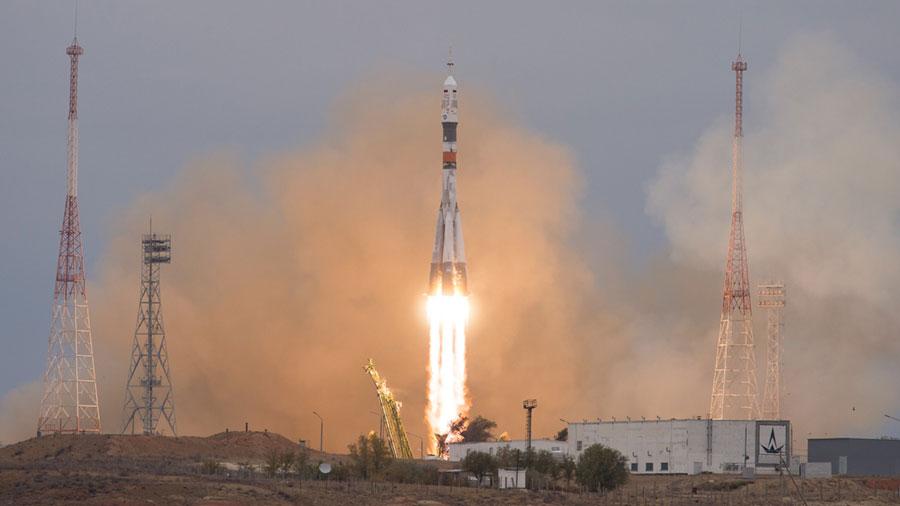 Three Crew Members Launch Aboard a Soyuz Rocket