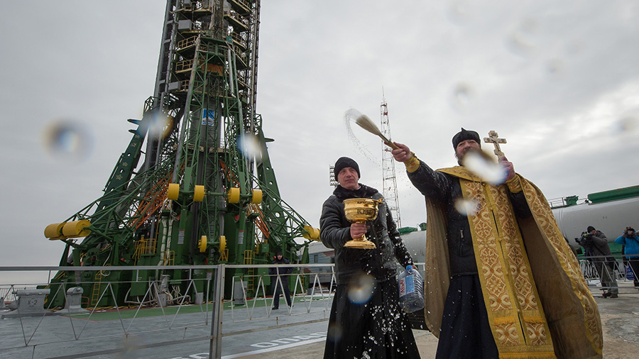 Orthodox Priest Blesses Rocket and Media