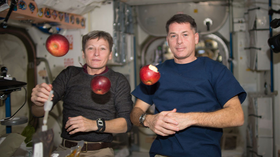 Astronauts Peggy Whitson and Shane Kimbrough