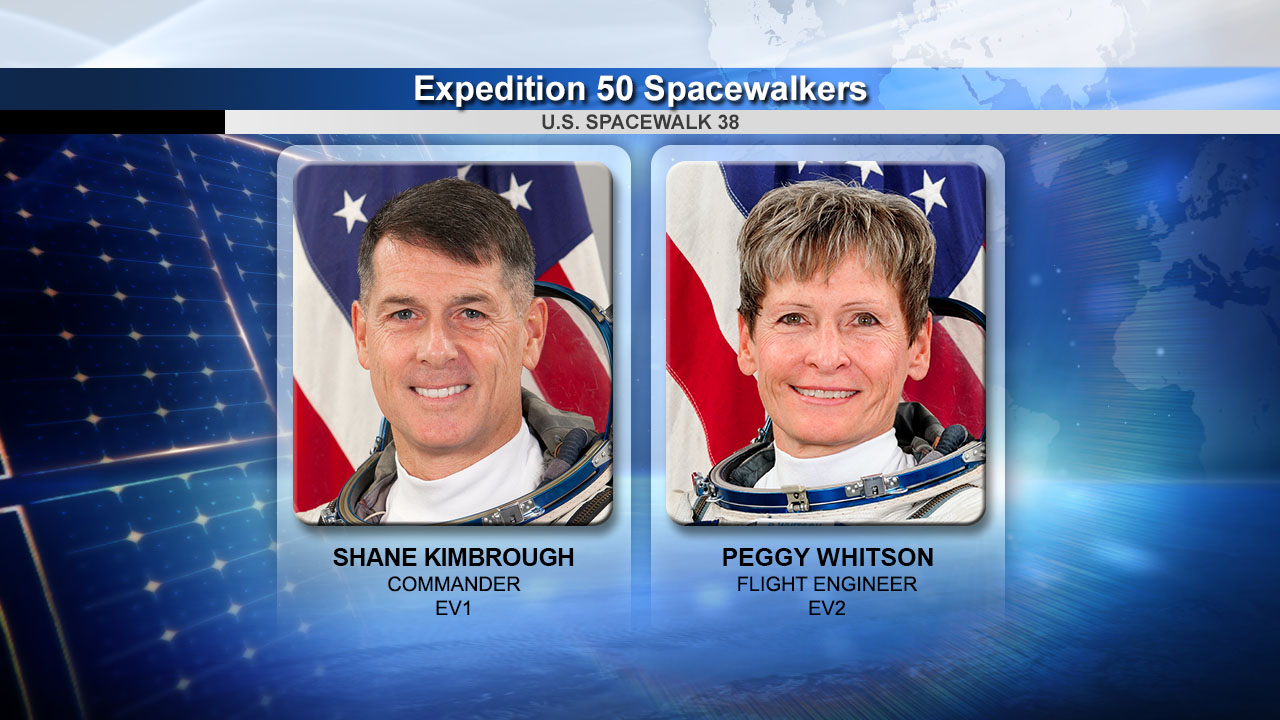 Spacewalkers Shane Kimbrough and Peggy Whitson