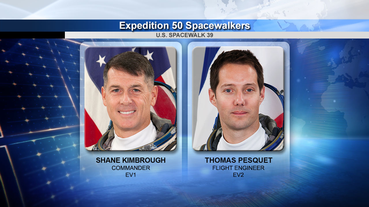 Astronauts Shane Kimbrough and Thomas Pesquet