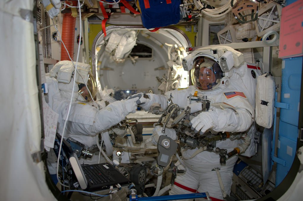 Spacewalkers Peggy Whitson and Shane Kimbrough