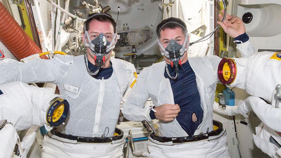 Astronauts Thomas Pesquet and Shane Kimbrough