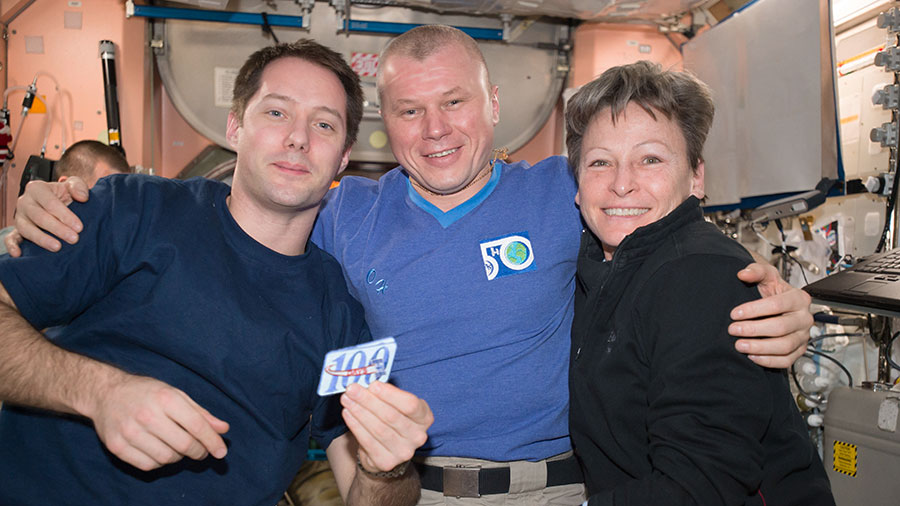 Thomas Pesquet, Oleg Novitskiy and Peggy Whitson