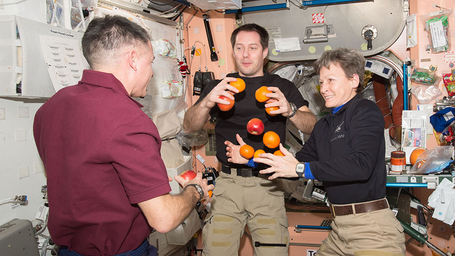 Astronauts Shane Kimbrough, Thomas Pesquet and Peggy Whitson