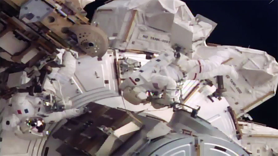 Spacewalkers Thomas Pesquet and Shane Kimbrough