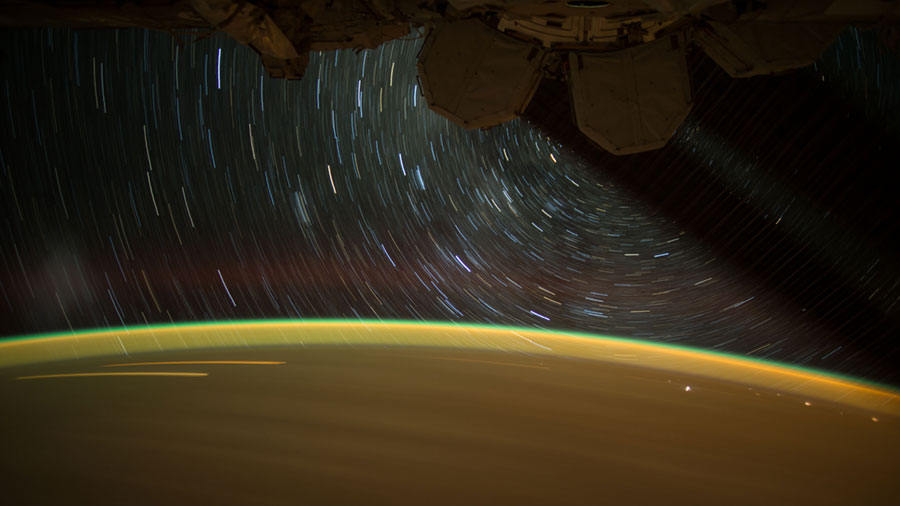 Earth and Stars Viewed from Station