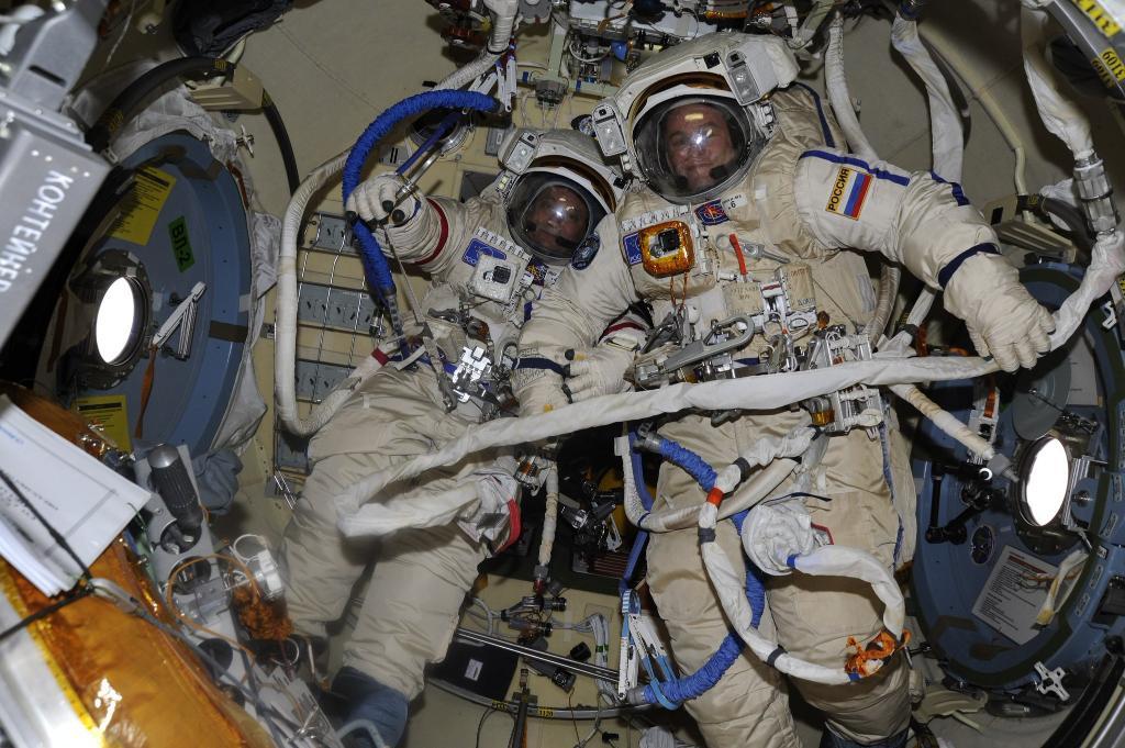 Cosmonauts Fyodor Yurchikhin and Sergey Ryazanskiy