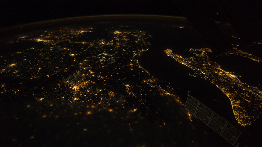Night Time View of Southern Europe