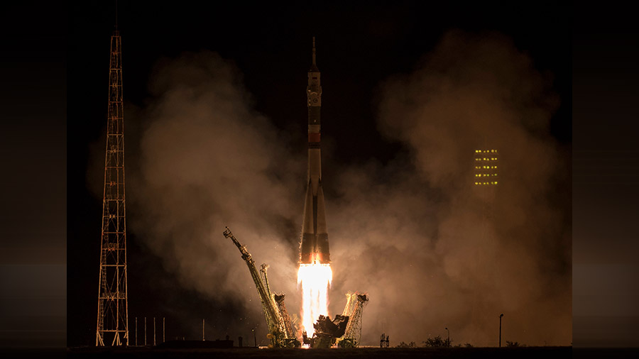 Soyuz Rocket Blasts Off With Crew