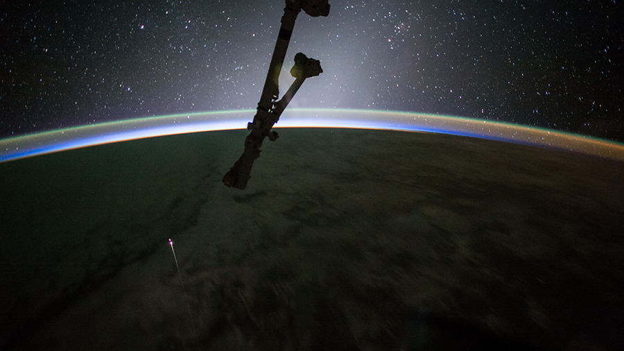 SpaceX Dragon capsule as it reentered Earth's atmosphere