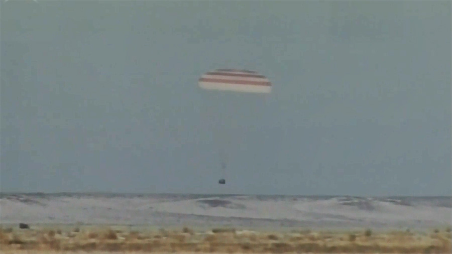 Soyuz Spacecraft Lands