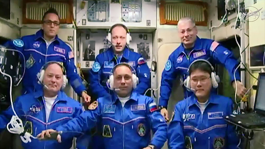 The newly-expanded Expedition 54 crew