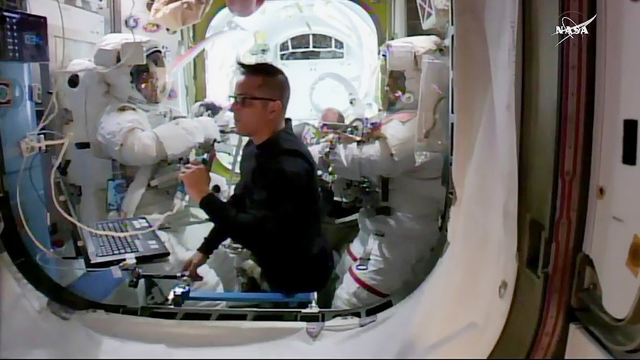 Astronauts in Quest Airlock