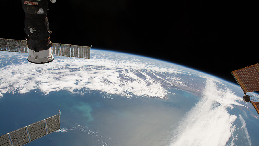 The International Space Station orbits above the Falkland Islands