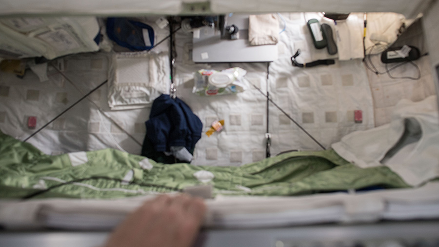 View inside the Crew Quarters where astronauts sleep