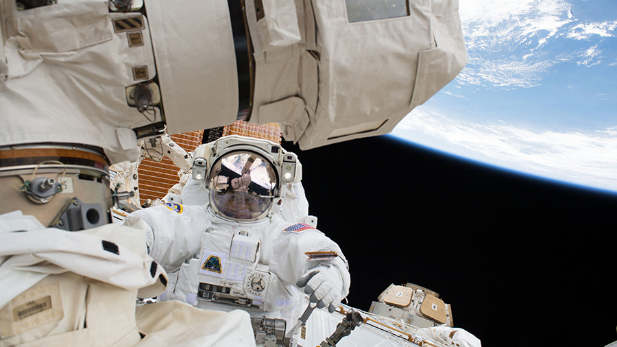 NASA astronaut Scott Tingle is pictured during a spacewalk