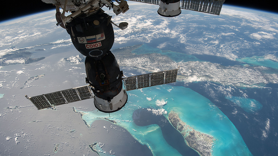 NASA astronaut Scott Tingle captures a photo of the Bahamas.