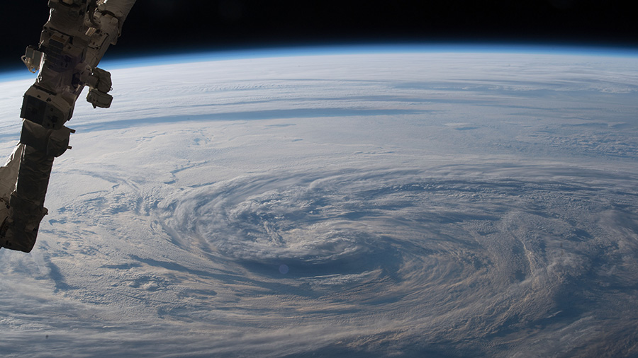 Stormy clouds are seen in the north Pacific Ocean