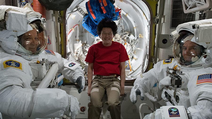 astronauts Ricky Arnold, Drew Feustel and Norishige Kanai