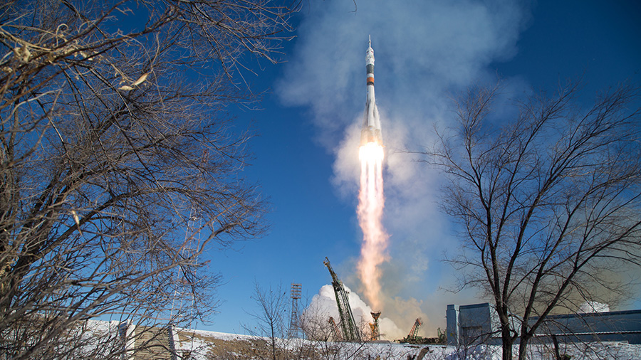 The Soyuz rocket is launched with Expedition 54-55 crew members