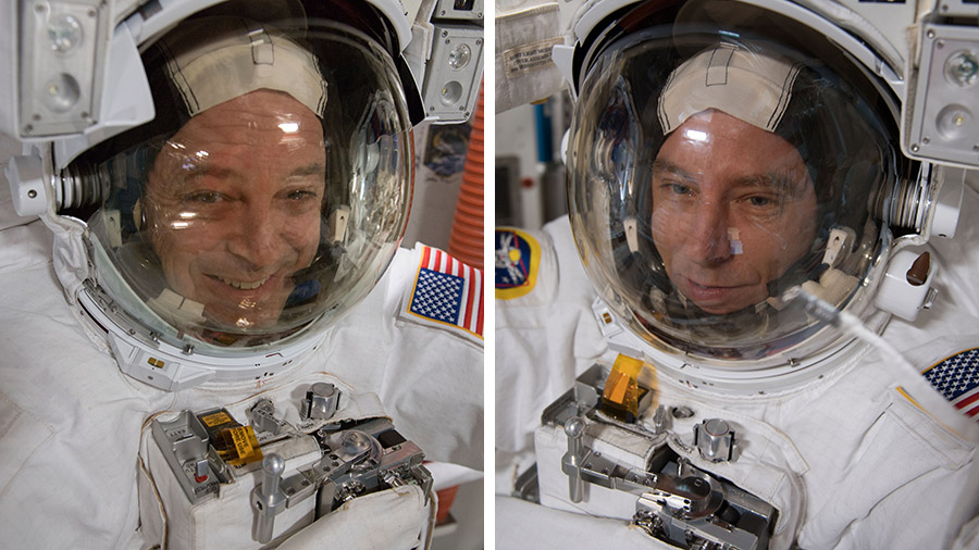 NASA astronauts Ricky Arnold and Drew Feustel