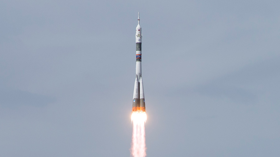 The Soyuz MS-09 rocket  heads to space