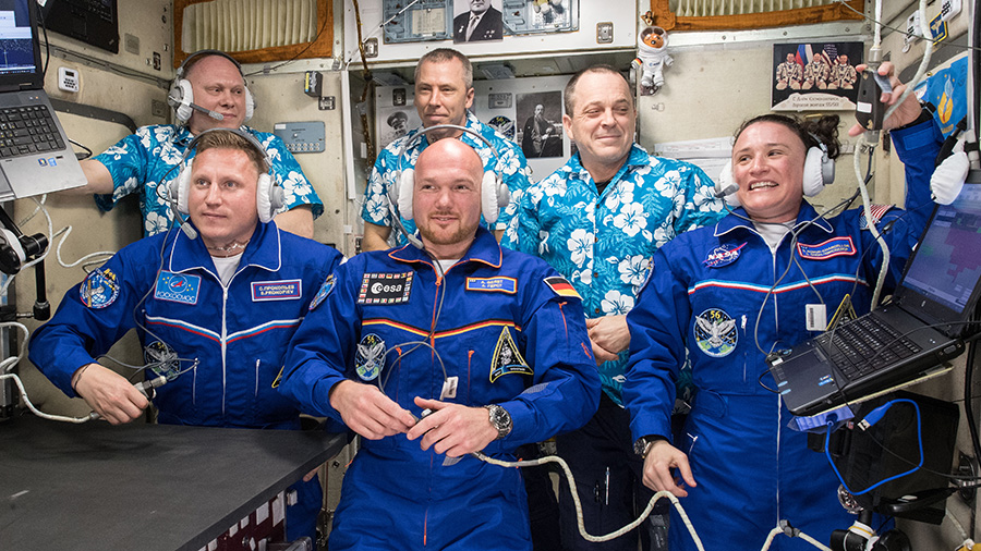 The newly-expanded six-member Expedition 56 crew