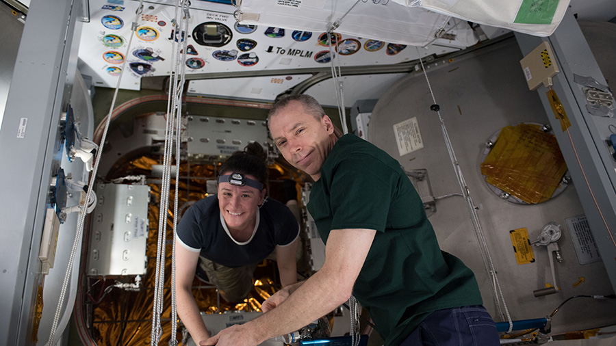 NASA astronauts Serena Auñón-Chancellor and Drew Feustel