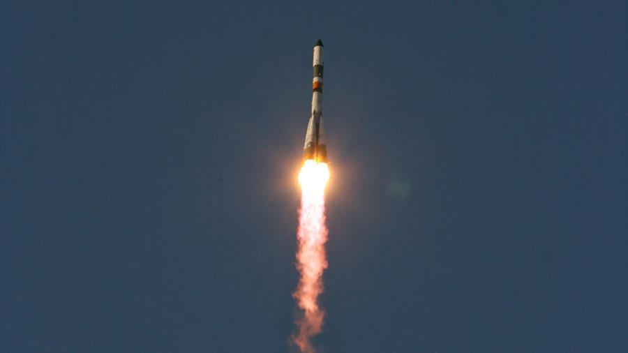 A Russian Progress resupply ship blasts off