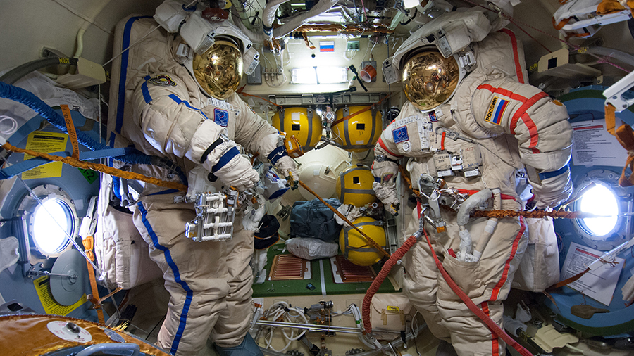 Empty Russian Orlan spacesuits
