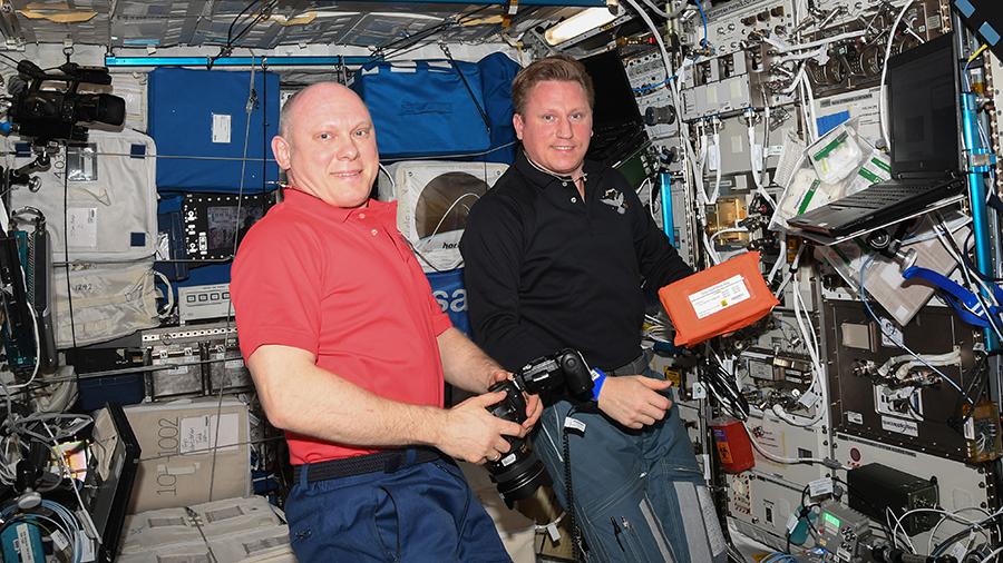 Cosmonauts Oleg Artemyev and Sergey Prokopyev