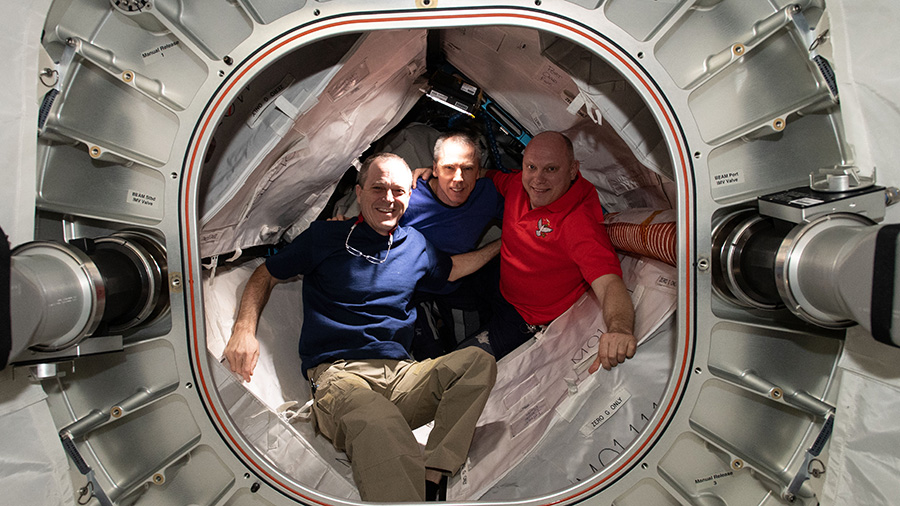 Expedition 55/56 crew members inside BEAM